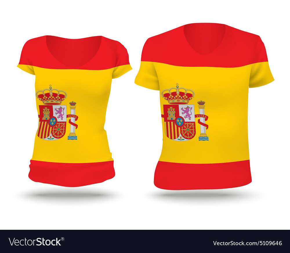 Flag shirt design of Spain vector image