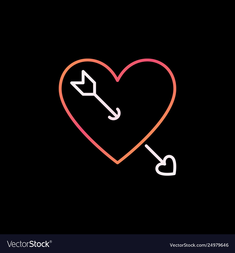 Heart with cupid arrow outline colorful