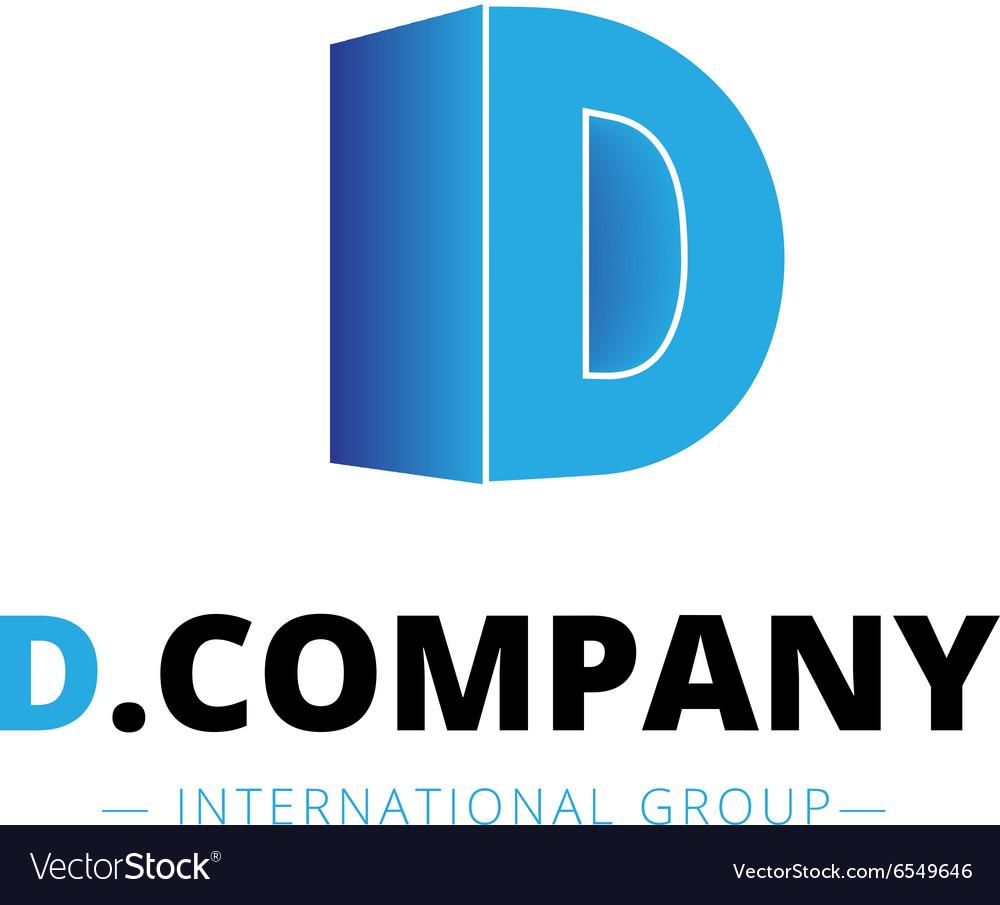 Isometric gradient D letter logo Company
