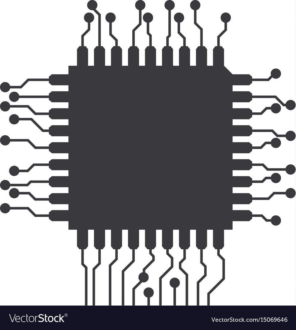 Microchip Circuit Technology Royalty Free Vector Image Green Electrical Board With Microchips And Transistors