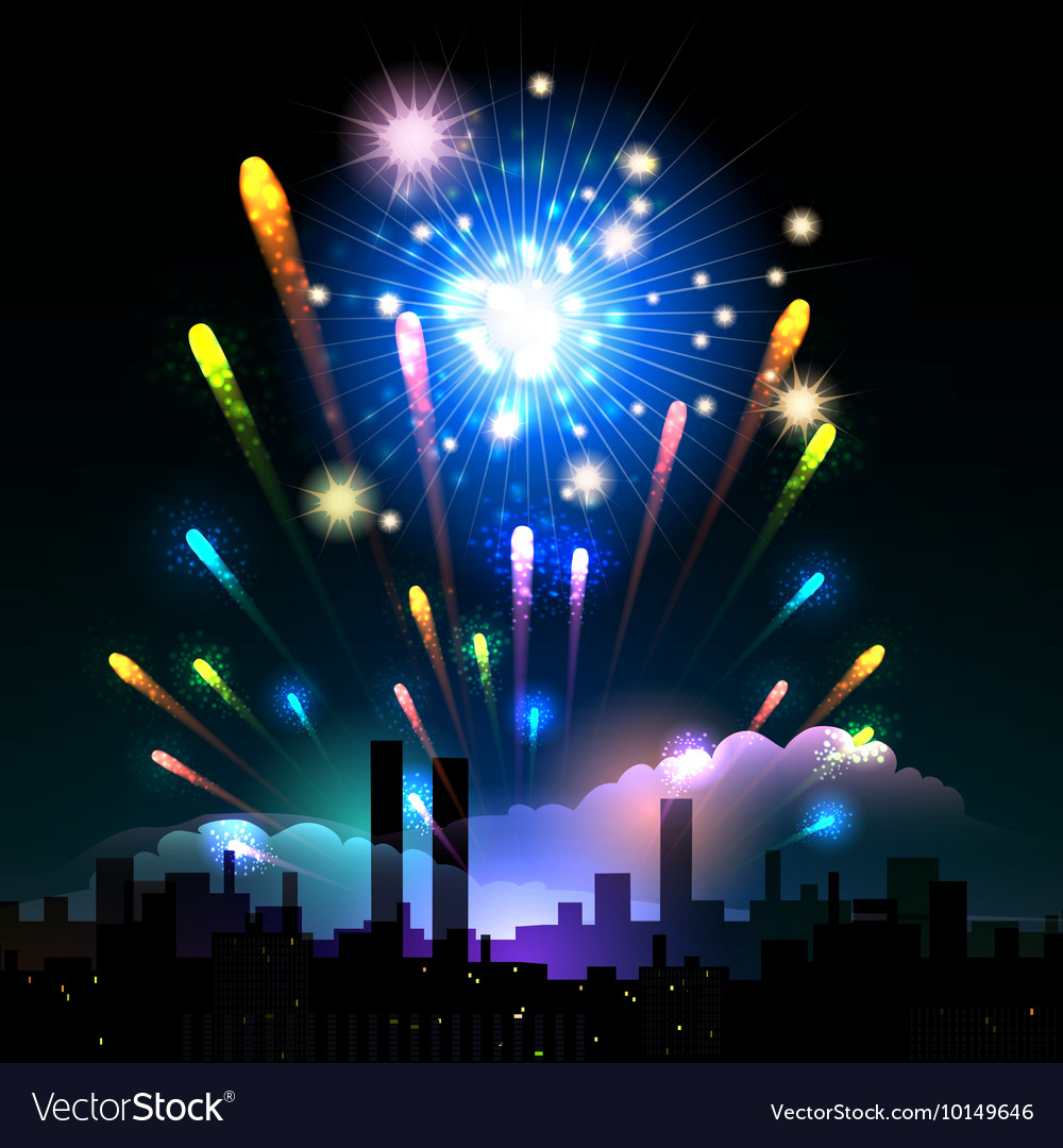 Night fireworks in a city