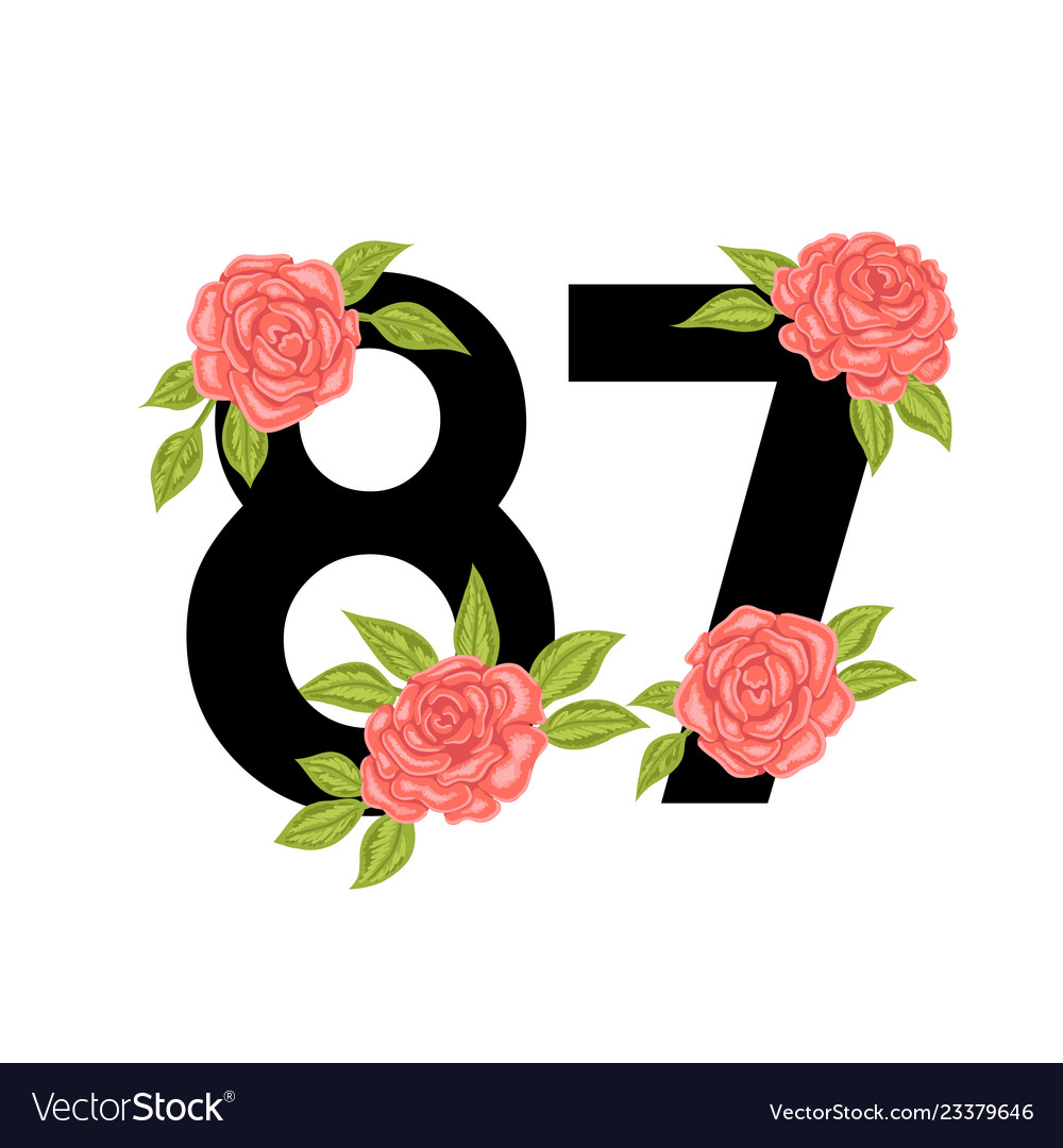 Number with roses for t-shirt