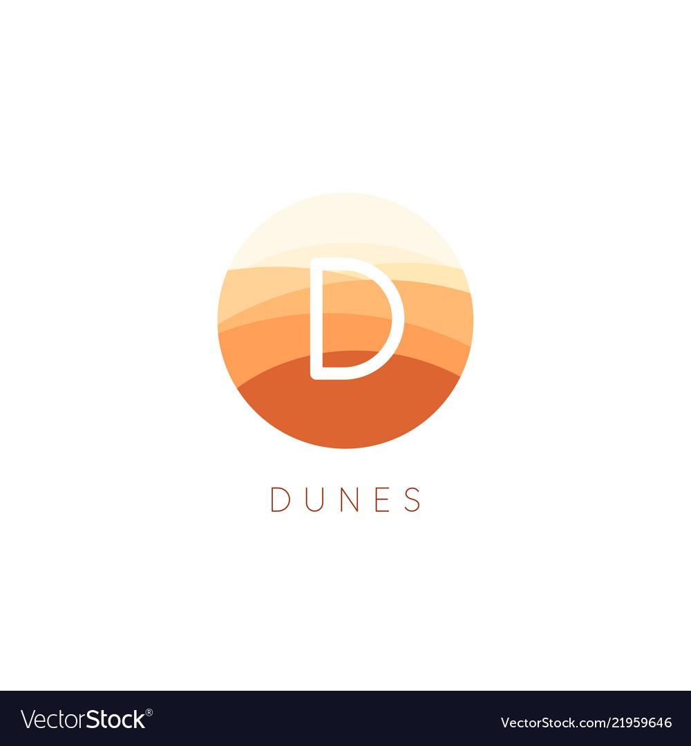 Sand dunes icon desert landscape logo