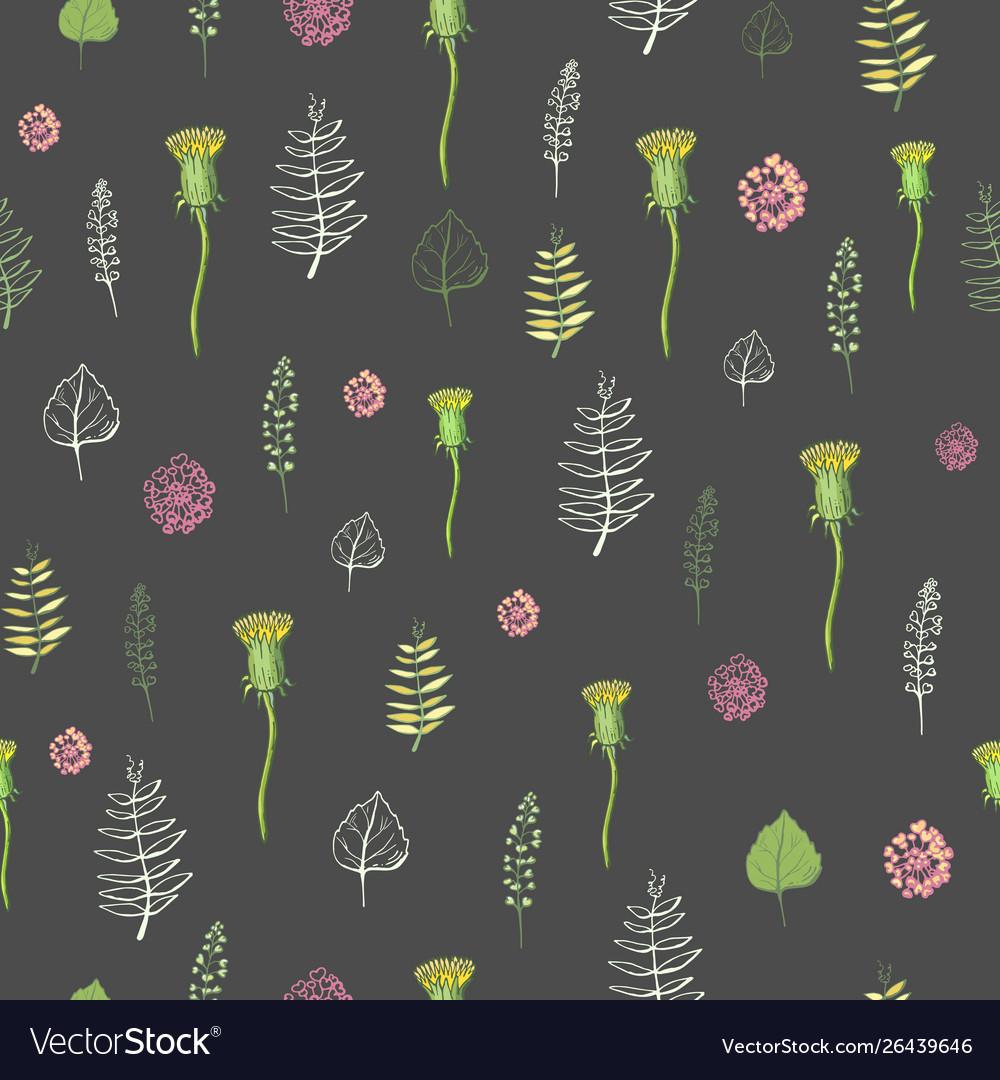 Seamless pattern flowers on a dark background