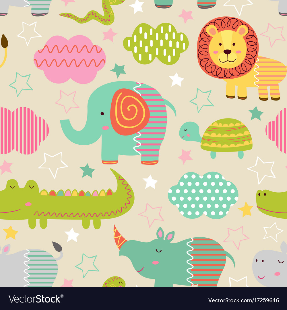 Seamless pattern with baby jungle animals