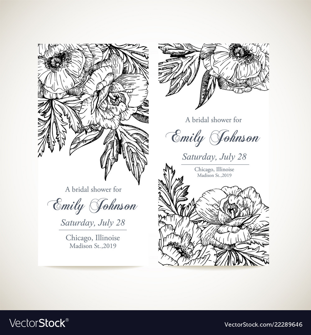Set invitation cards with vintage flowers