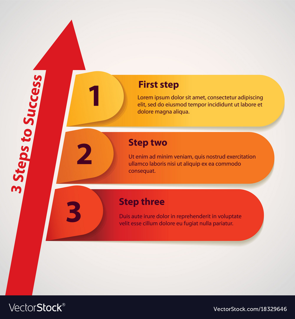 Three Steps To Success Royalty Free Vector Image