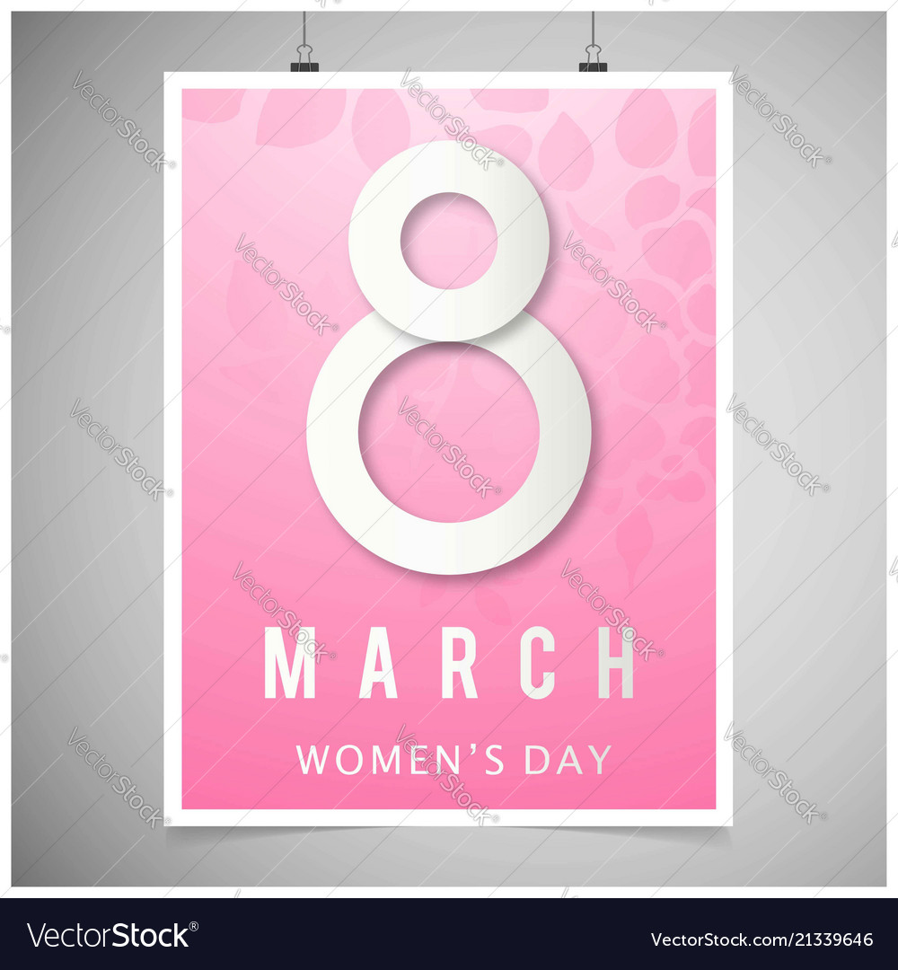 Womens day card with pink background and