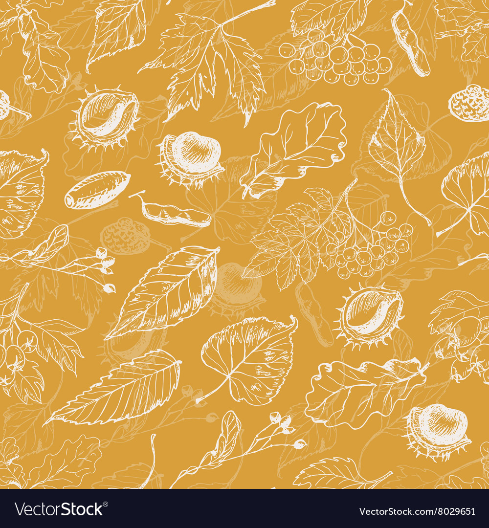 Autumn seamless pattern with leaves and seeds on