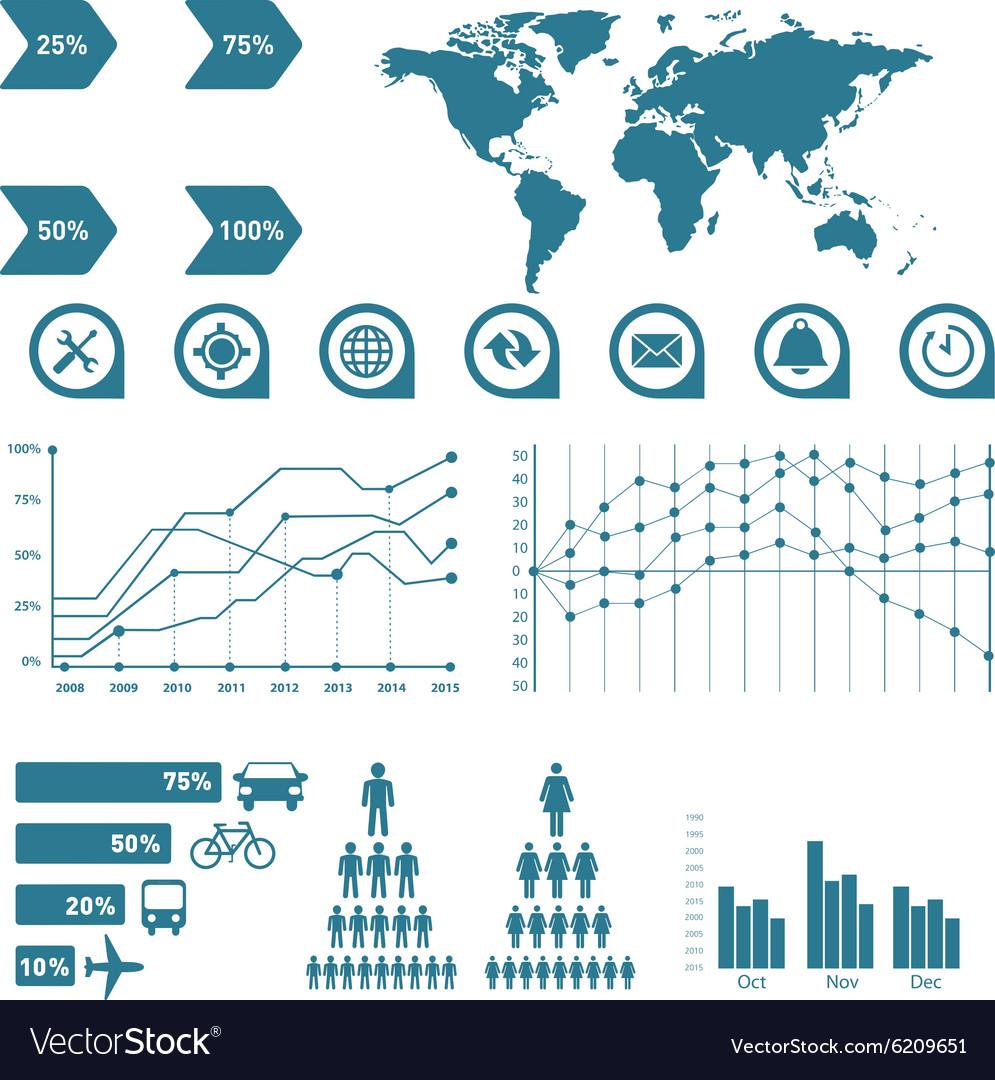 Business data market elements dot bar pie charts