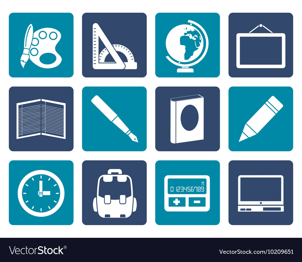 Flat School and education icons