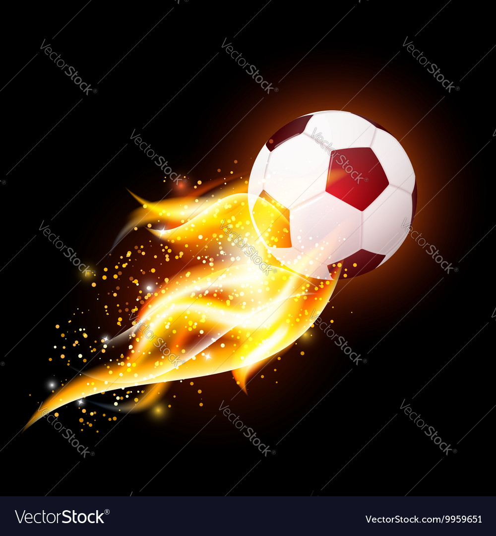 Football ball with fire