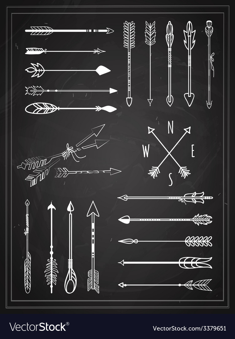 Hand Drawn Arrows on Chalkboard Design