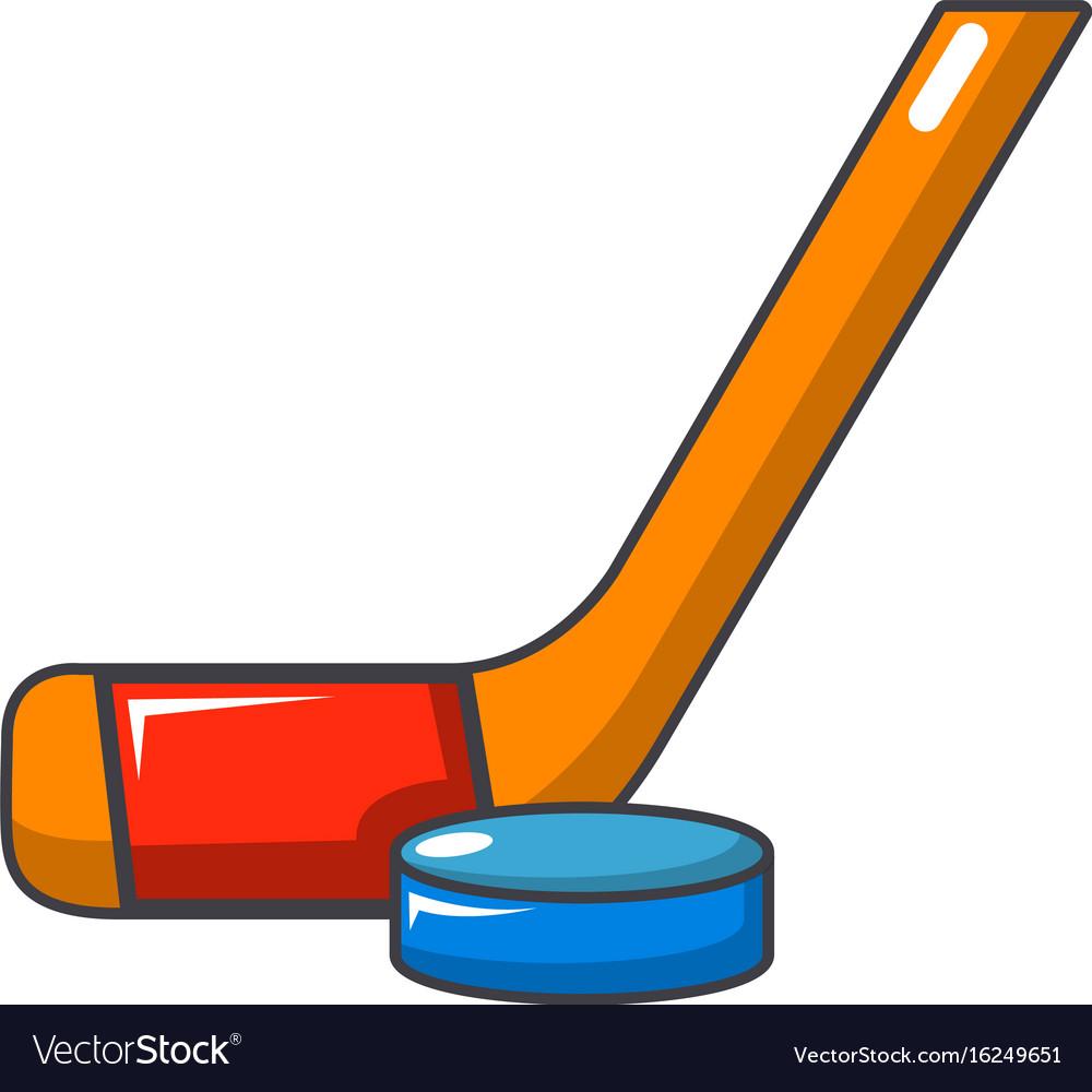 hockey stick and puck icon cartoon style vector image rh vectorstock com cartoon hockey stick and puck cartoon hockey stick clipart
