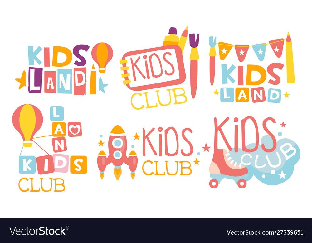 Kids Land Club Logo Set Playiground Childrens Vector Image
