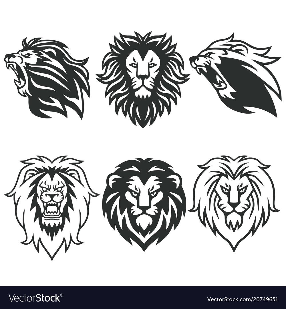 Lion logo package premium design collection set