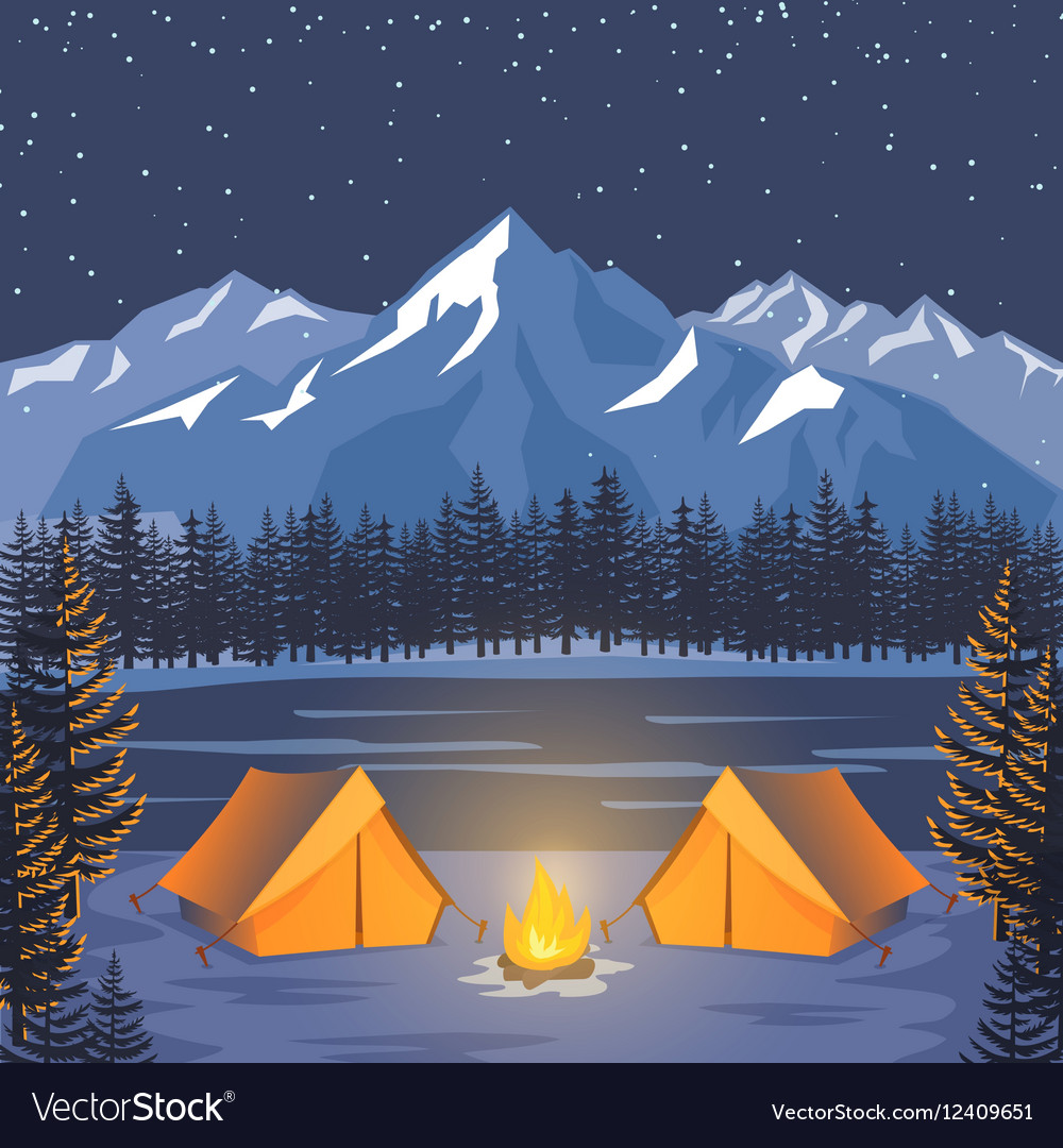 Nature adventure poster night landscape with