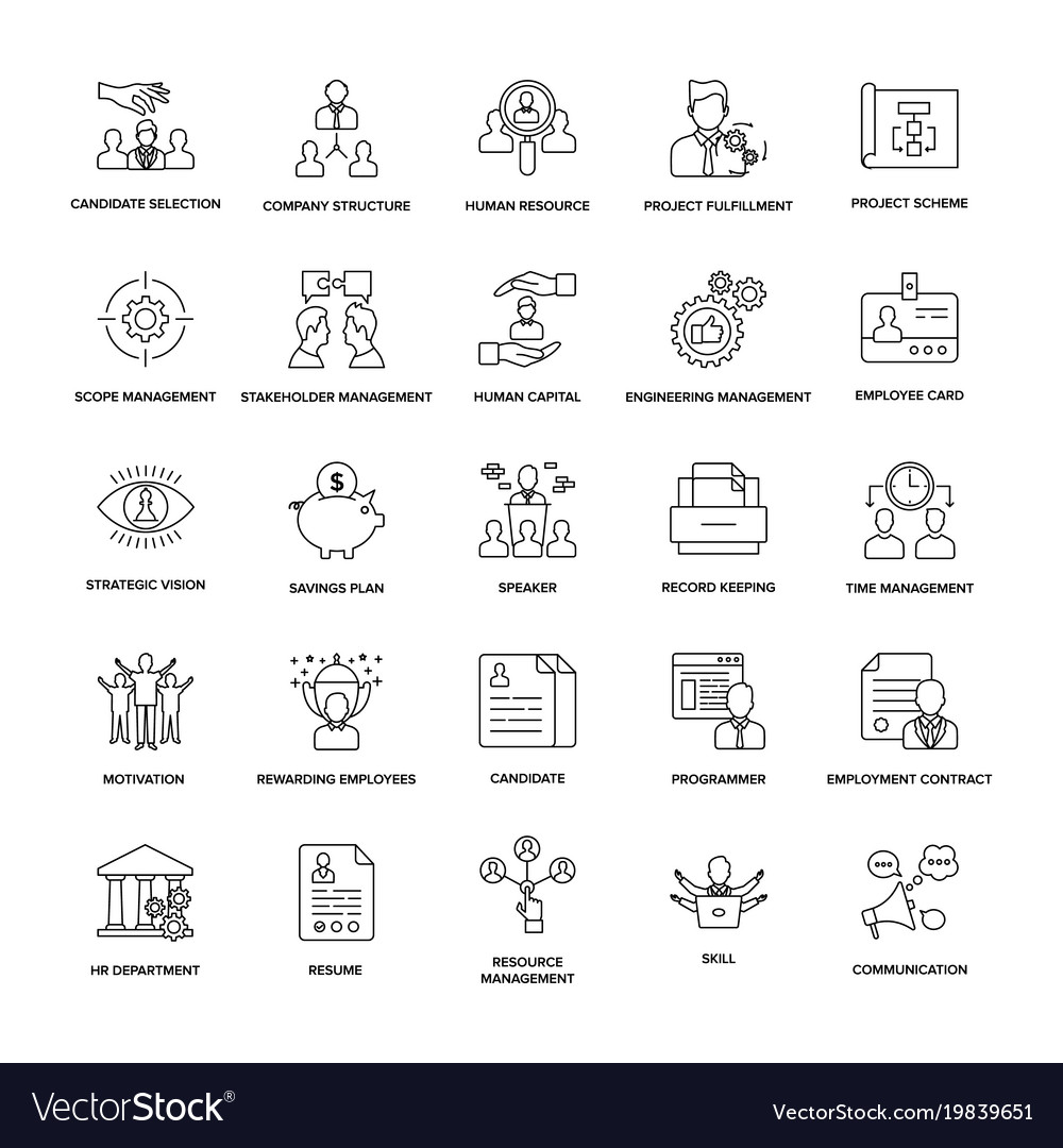 Project management line icon pack