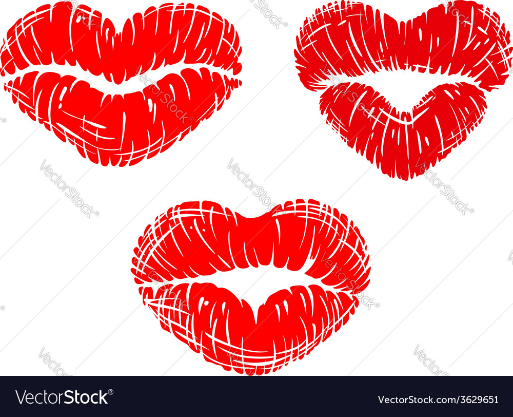 red lip prints with heart shapes royalty free vector image