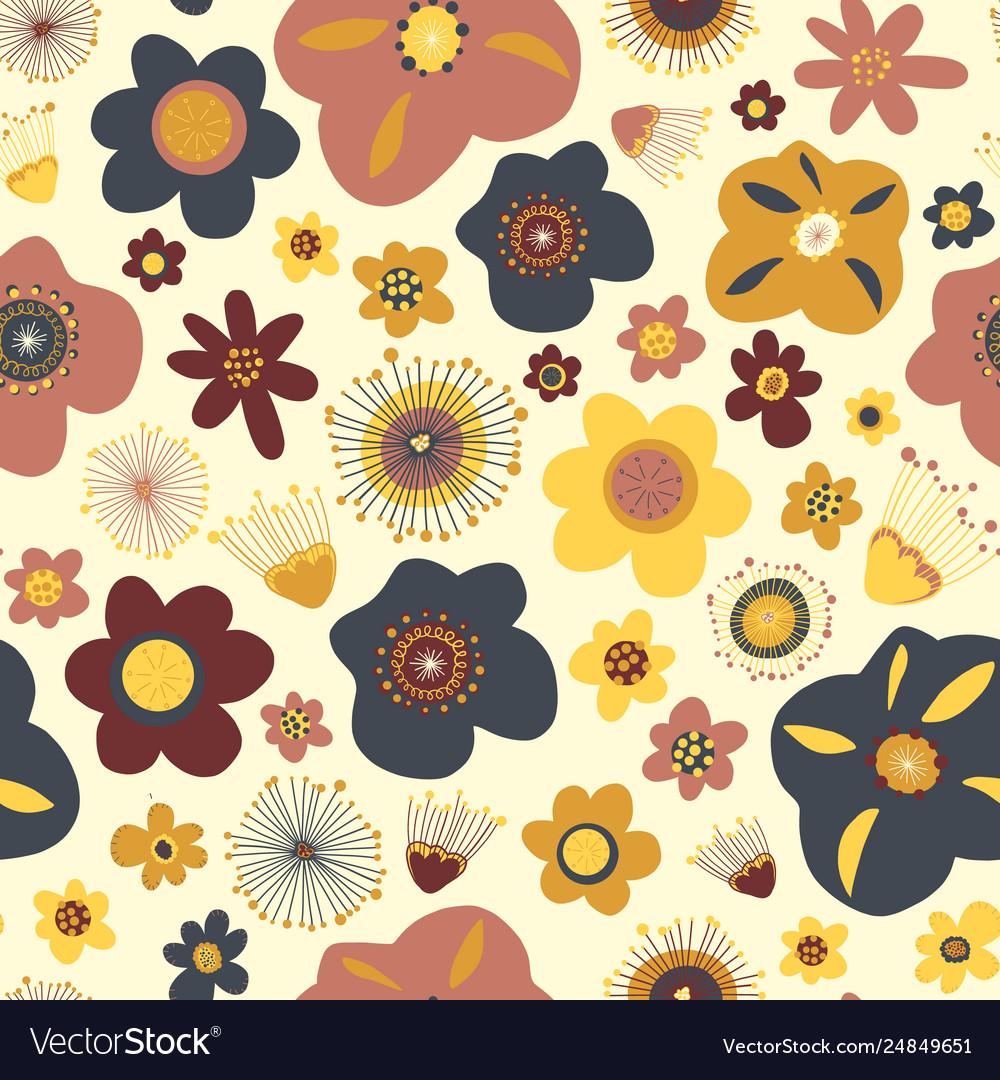 Scandinavian flat doodle flowers seamless
