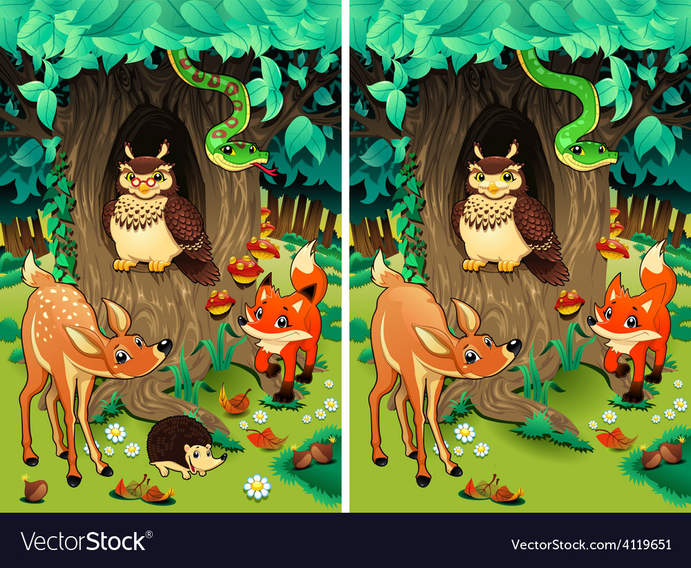 Spot The Differences Royalty Free Vector Image