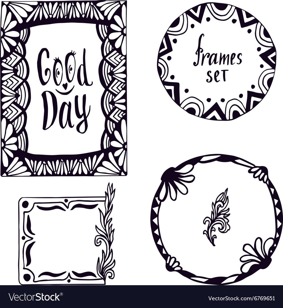 Tribal frame set Hand-drawn doodle design vector image