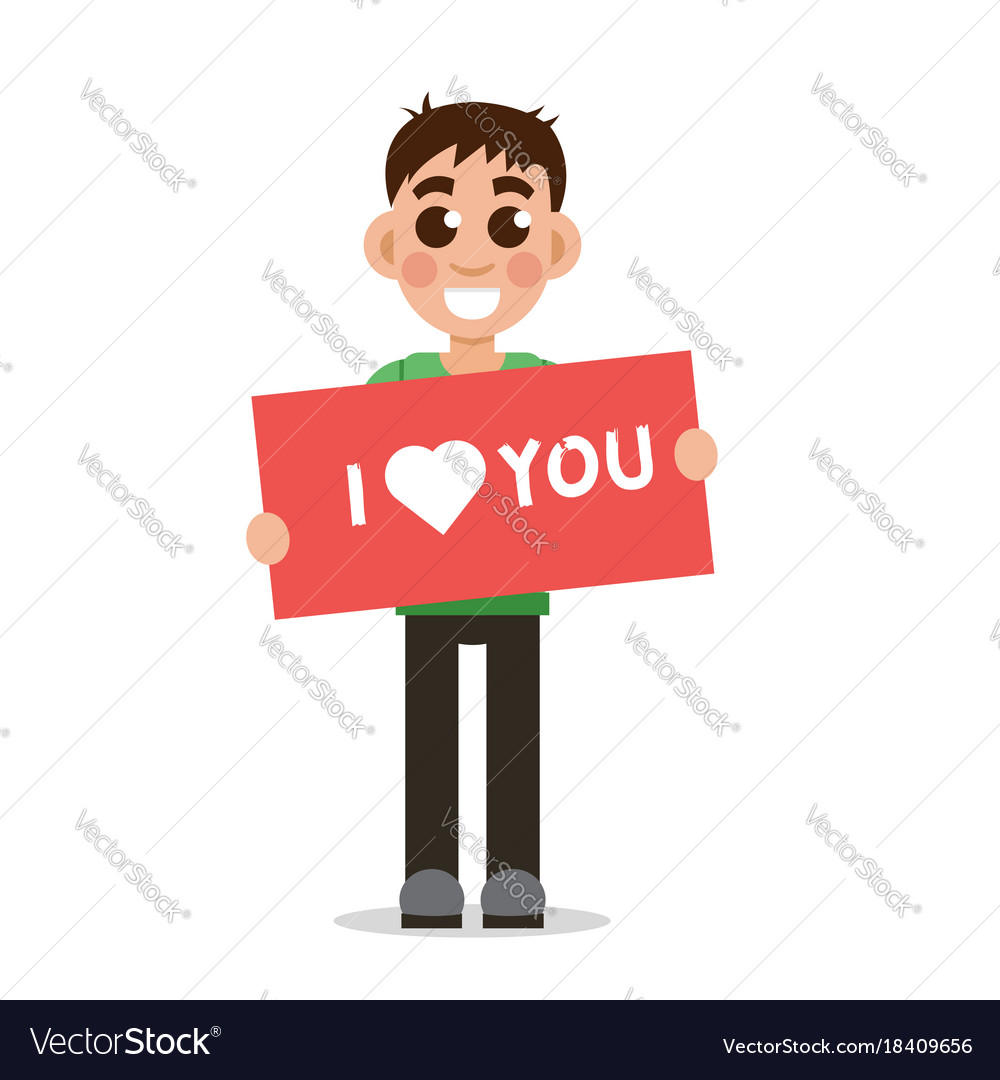 Boy holding poster with word i love you