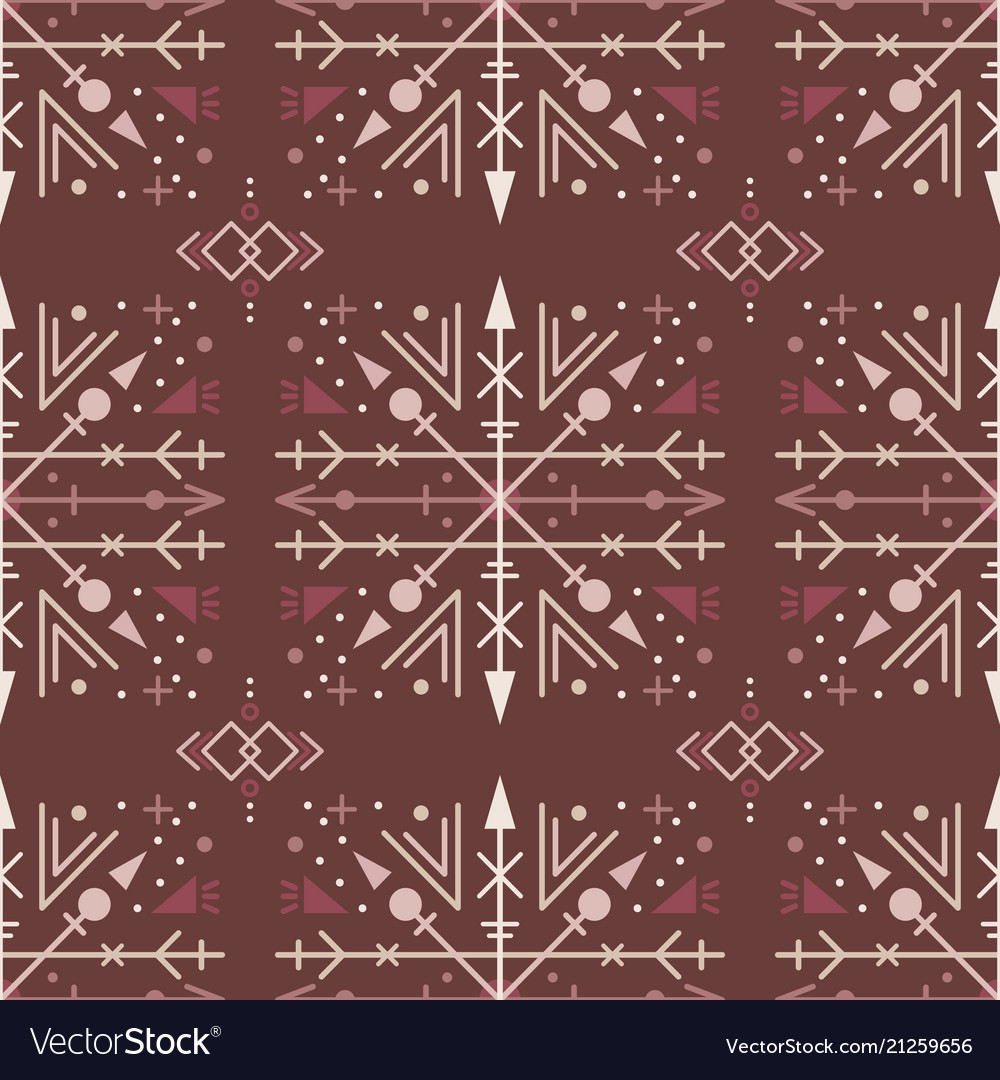 Brown ethnic seamless pattern with tribal elements