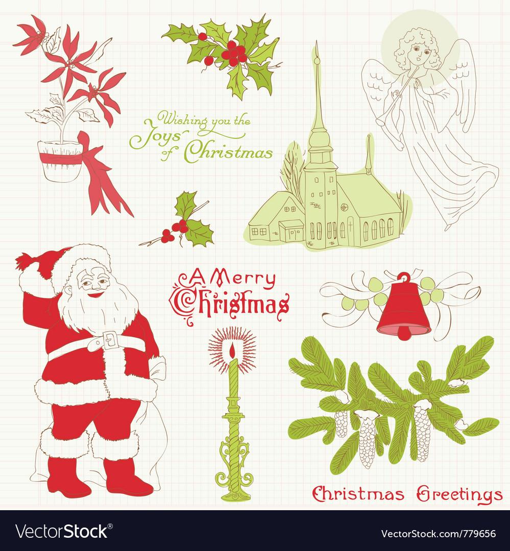 Christmas vintage design elements