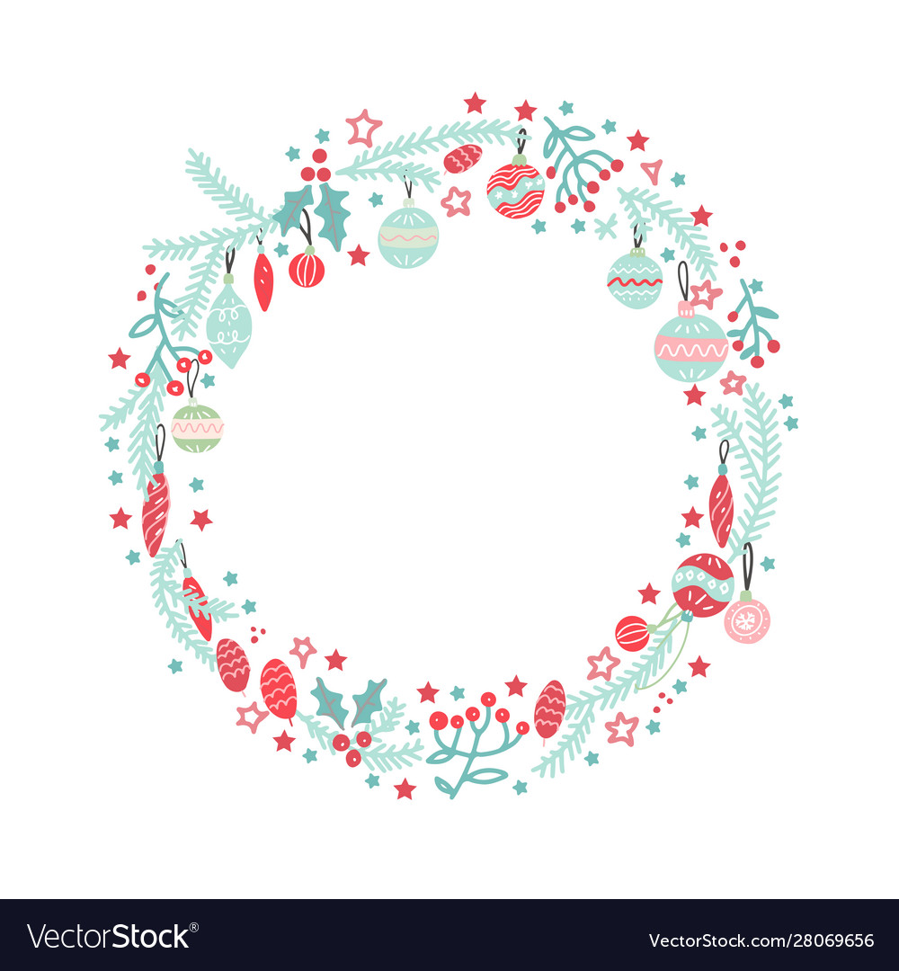 Christmas wreath with balls berries branches