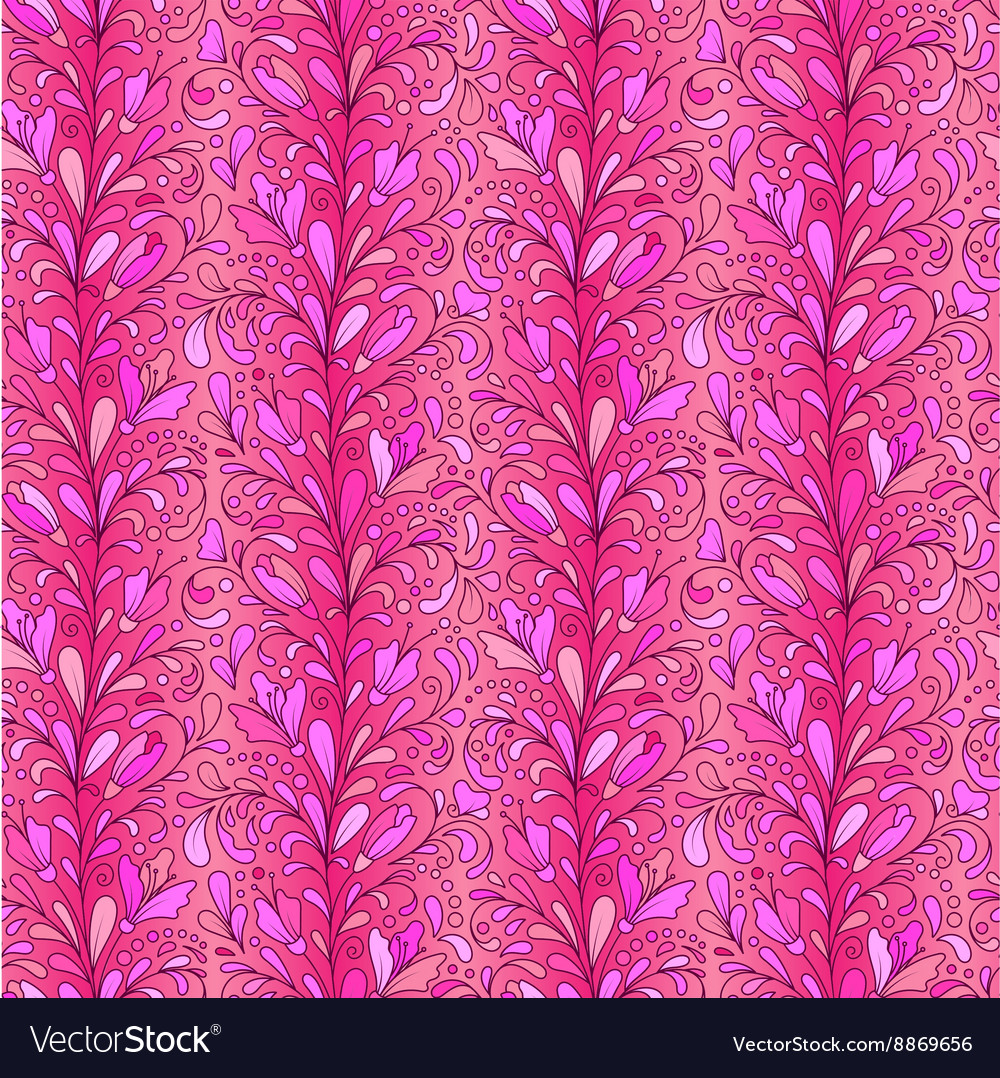 Colorful hand drawn seamless floral pattern