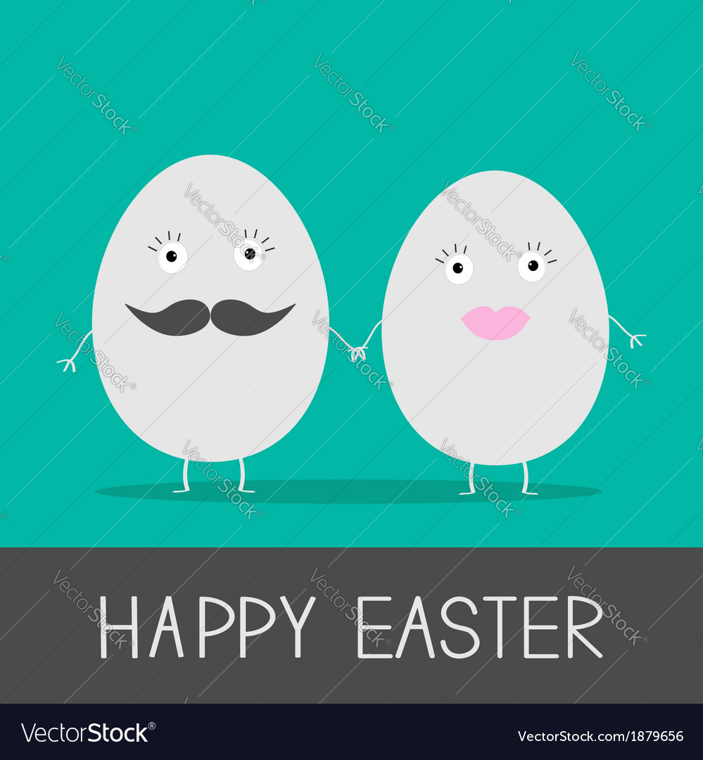 Egg easter couple with lips and mustaches vector image