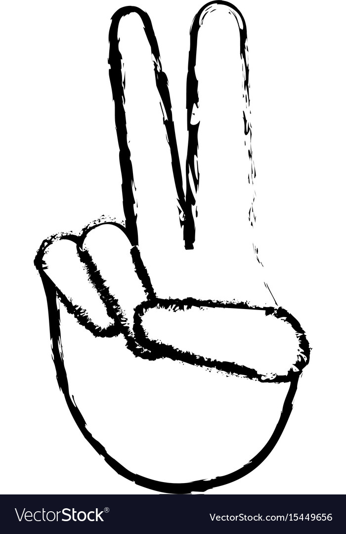 Hand human with peace and love gesture vector image
