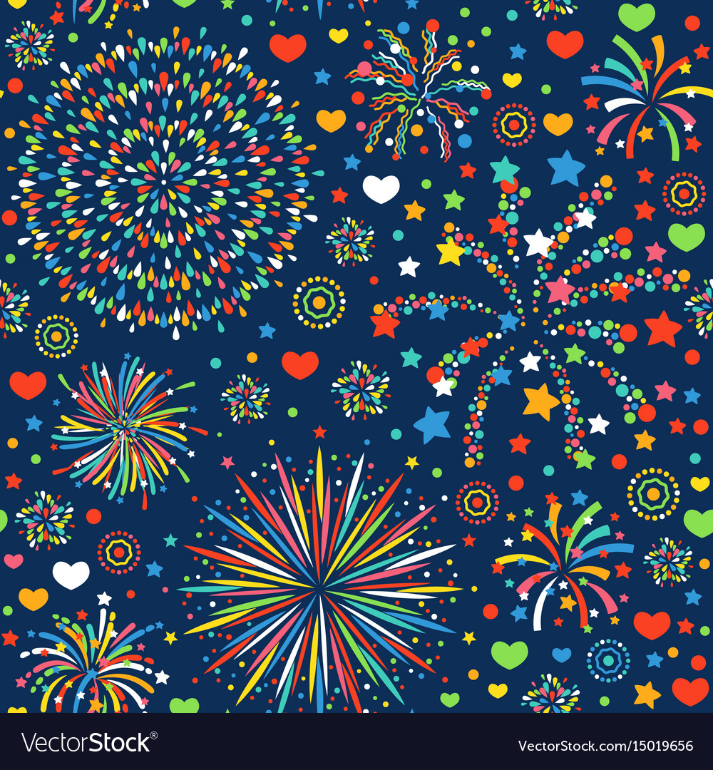 Holiday fireworks seamless pattern abstract design