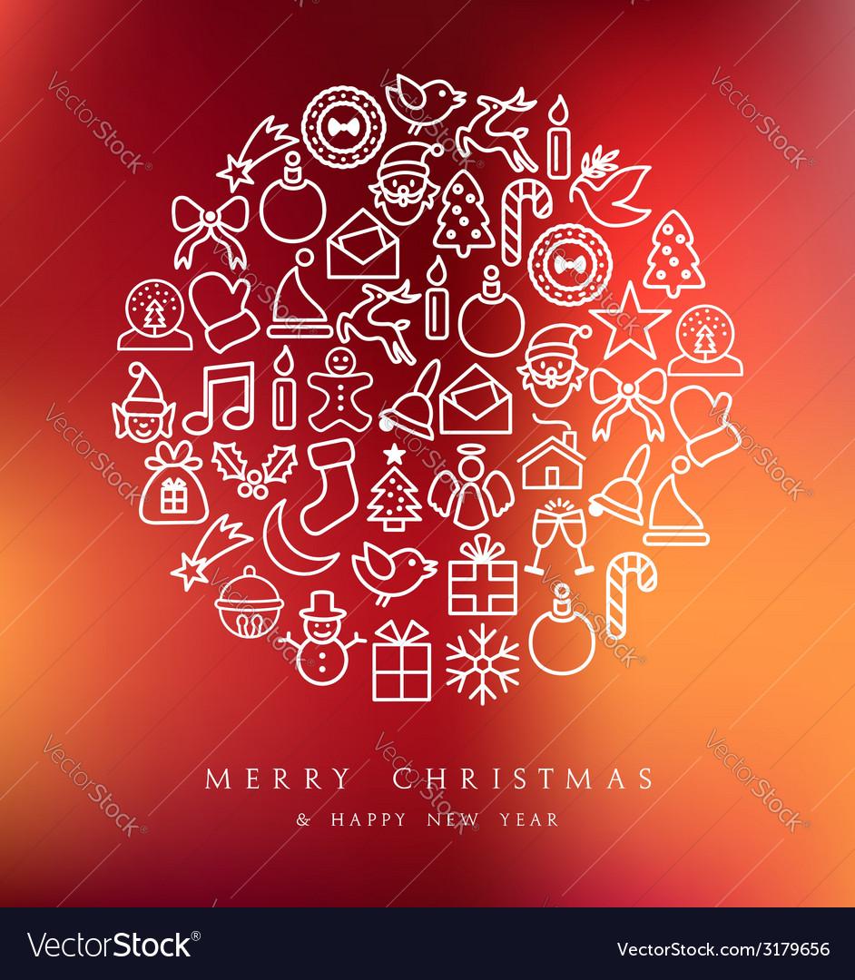 Merry Christmas circle icons set card