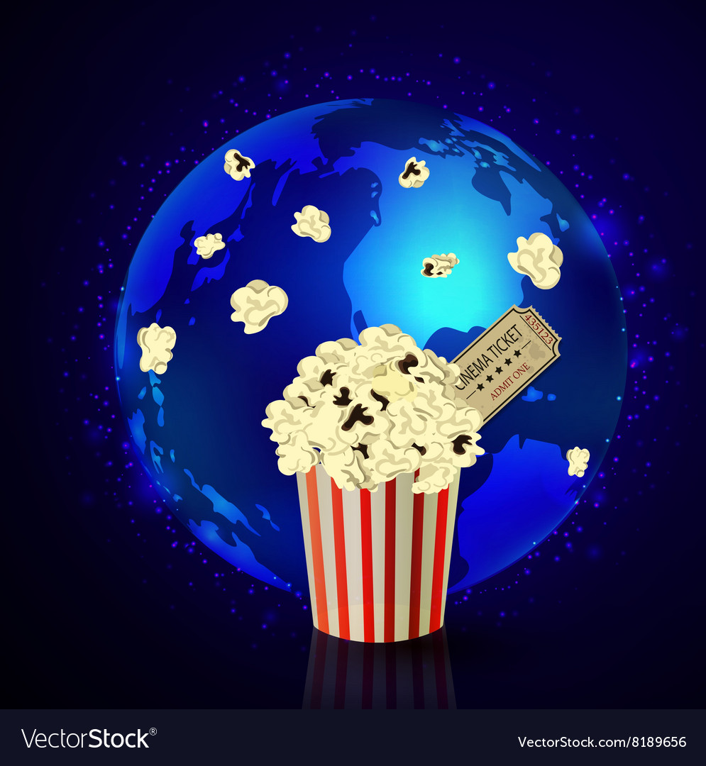 Popcorn and movie ticket vector image