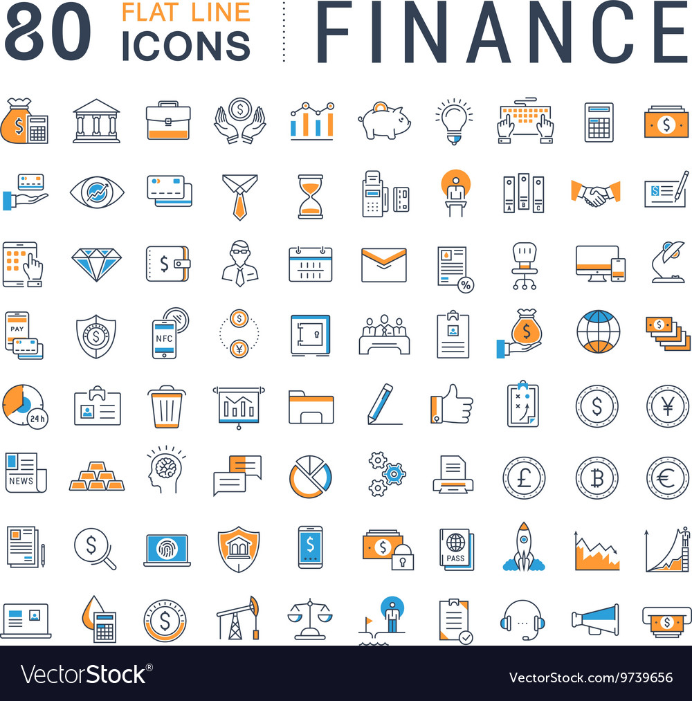 Set Flat Line Icons Finance