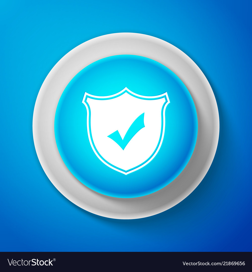Shield with check mark icon on blue background
