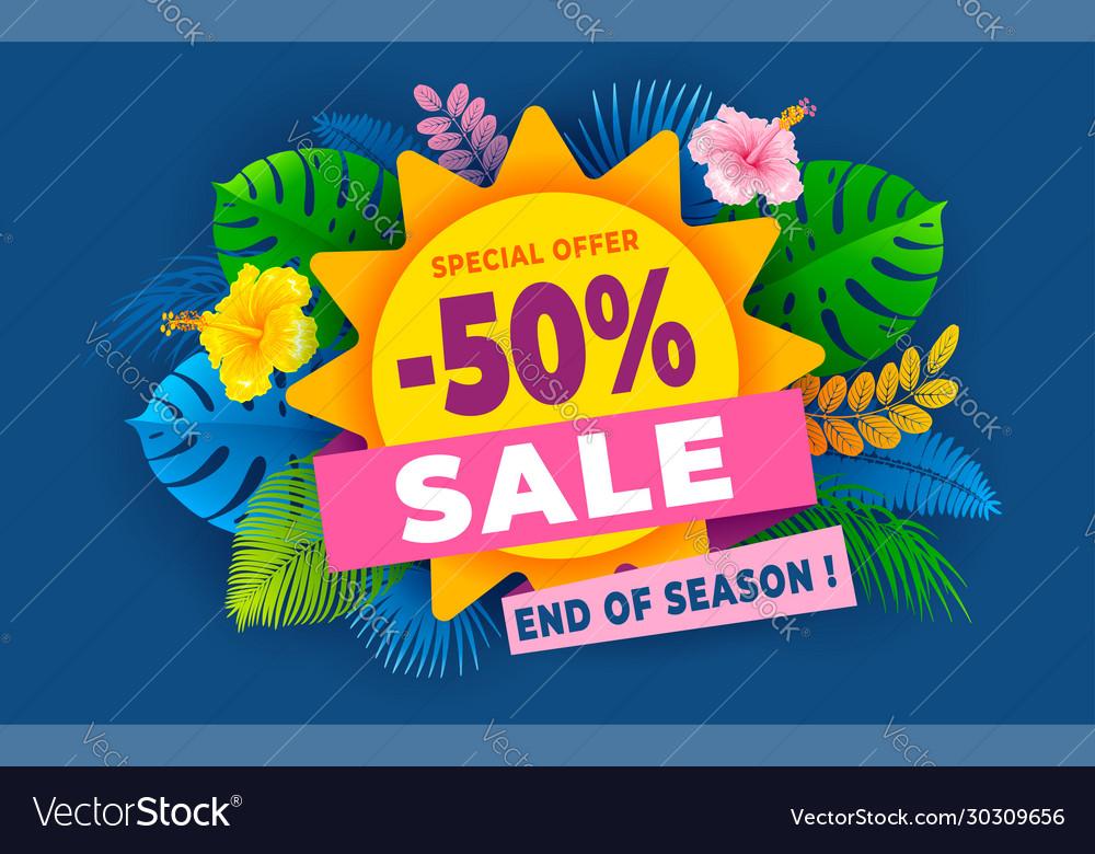 Summer sale end season advertising banner