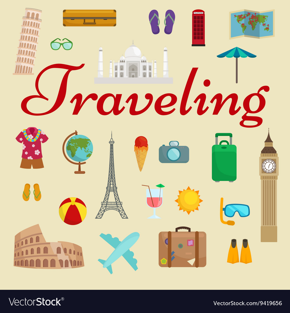 Travel tourism icons vacation