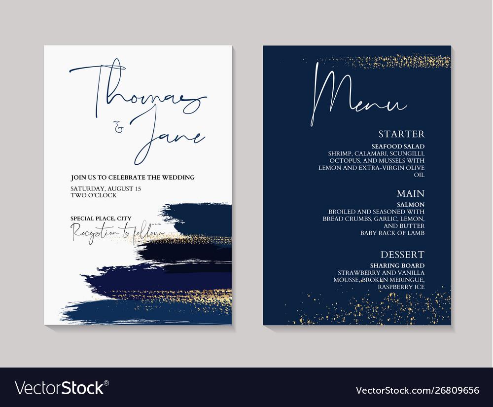 Wedding Navy Grunge Splash Invitation Cards With