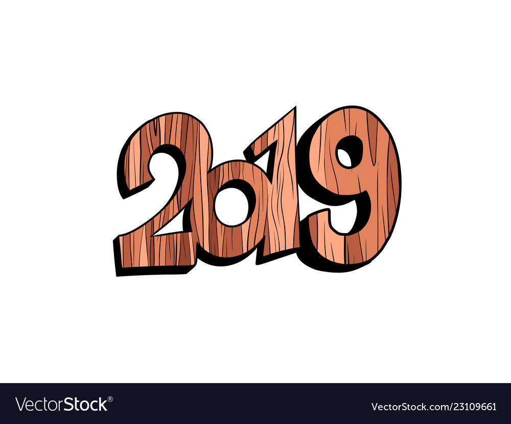 2019 happy new year wooden isolate on white