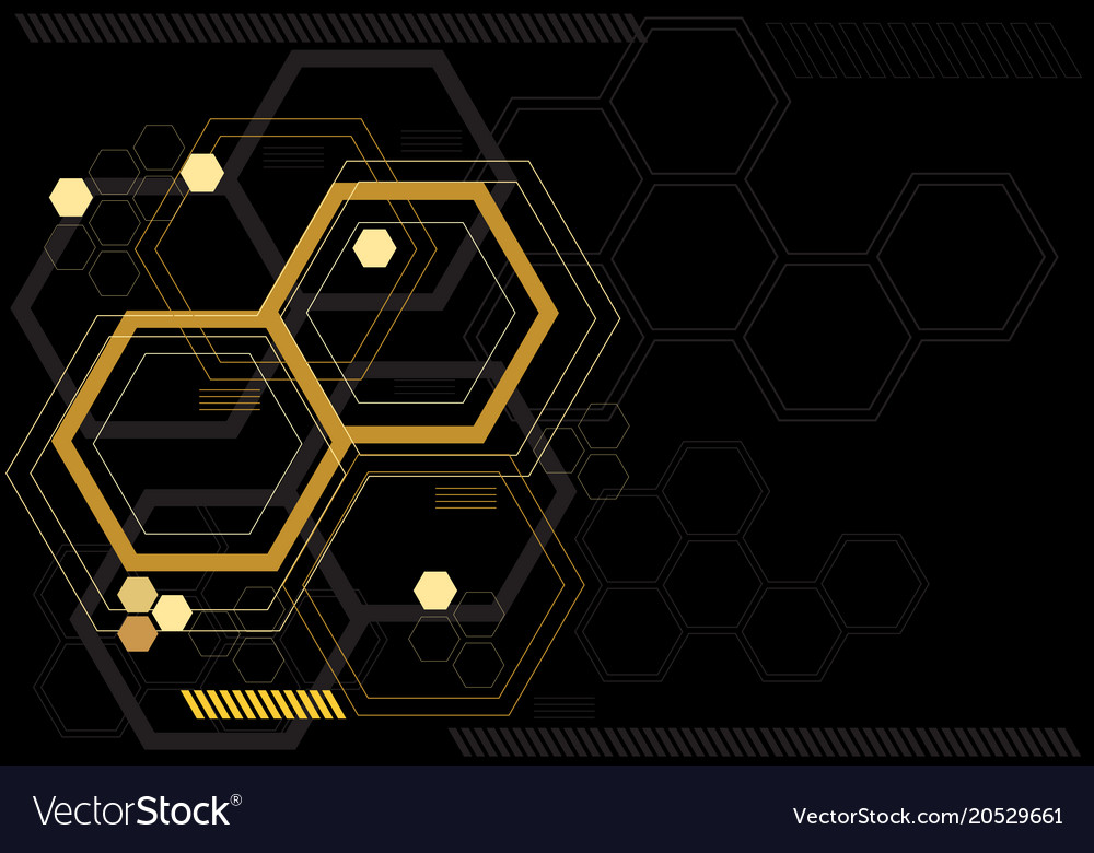 abstract yellow hexagon digital black royalty free vector  vectorstock