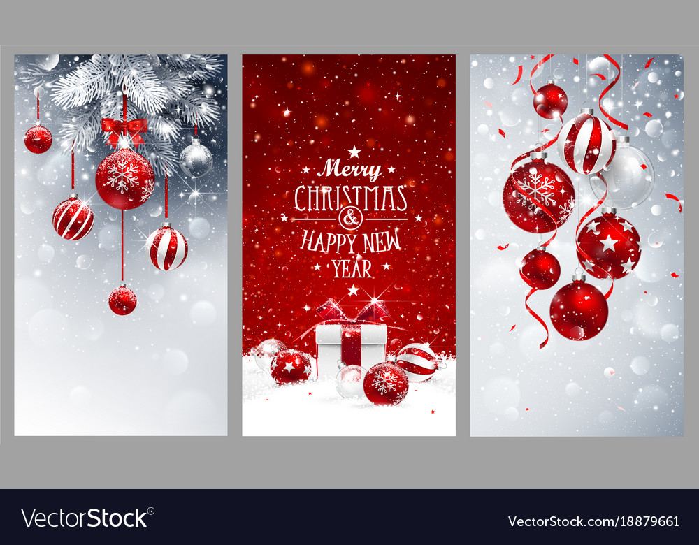 Christmas banners set with fir branches red balls