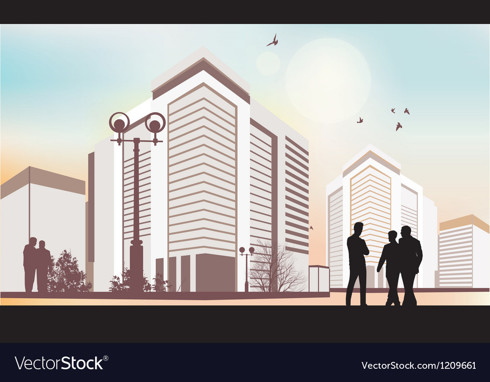 City silhouettes in purple colors vector image