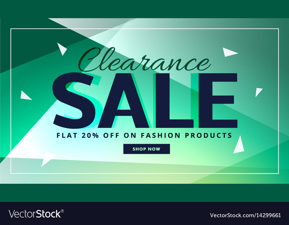 Clearance Sale Banner With Beautiful Background Vector Image