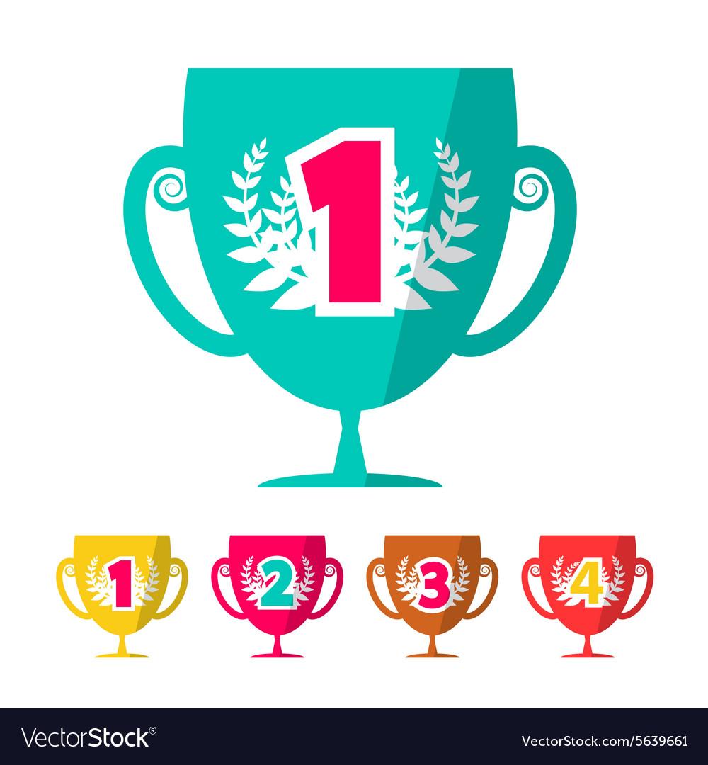 Flat Design Winning Cups Set vector image
