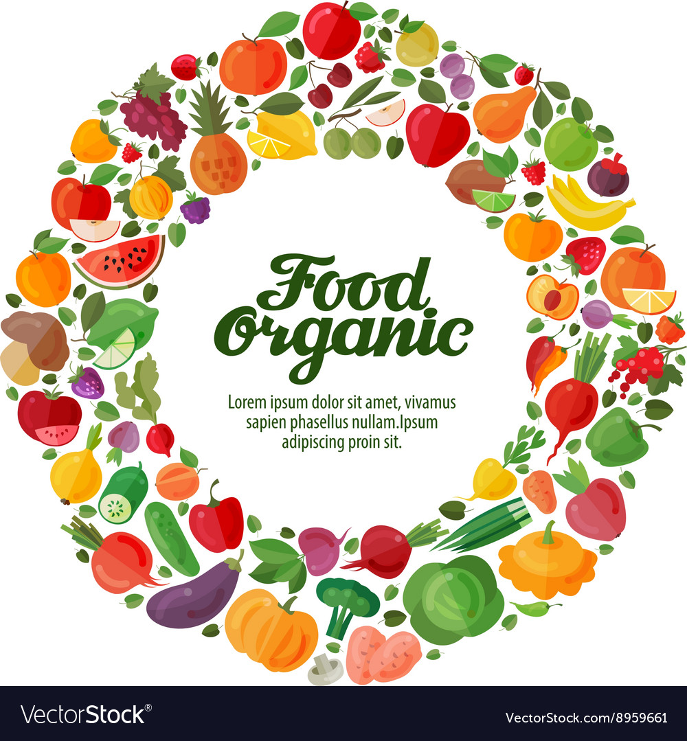 Fruit and vegetable icons organic food