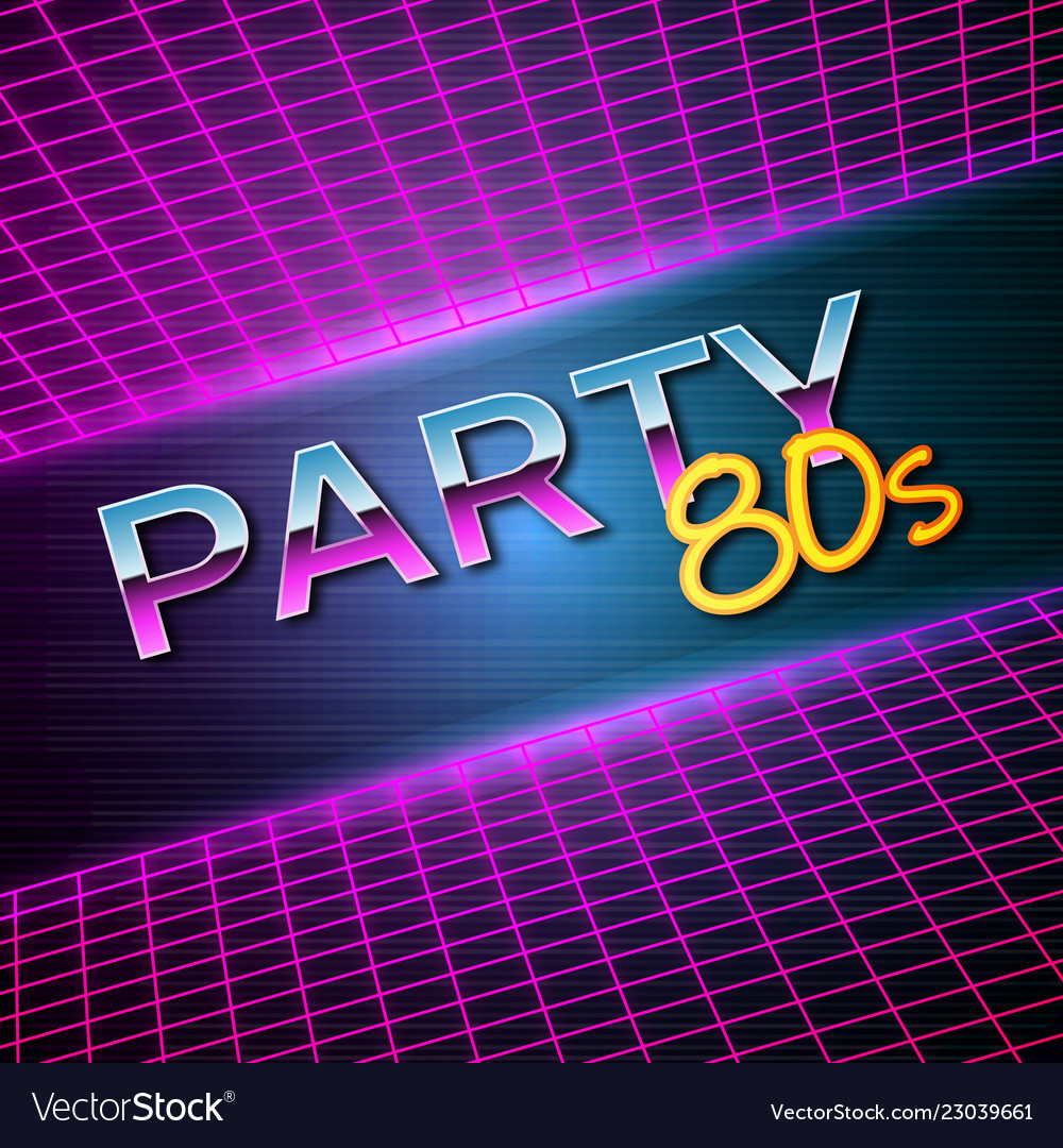 Futuristic background 80s style party flyer