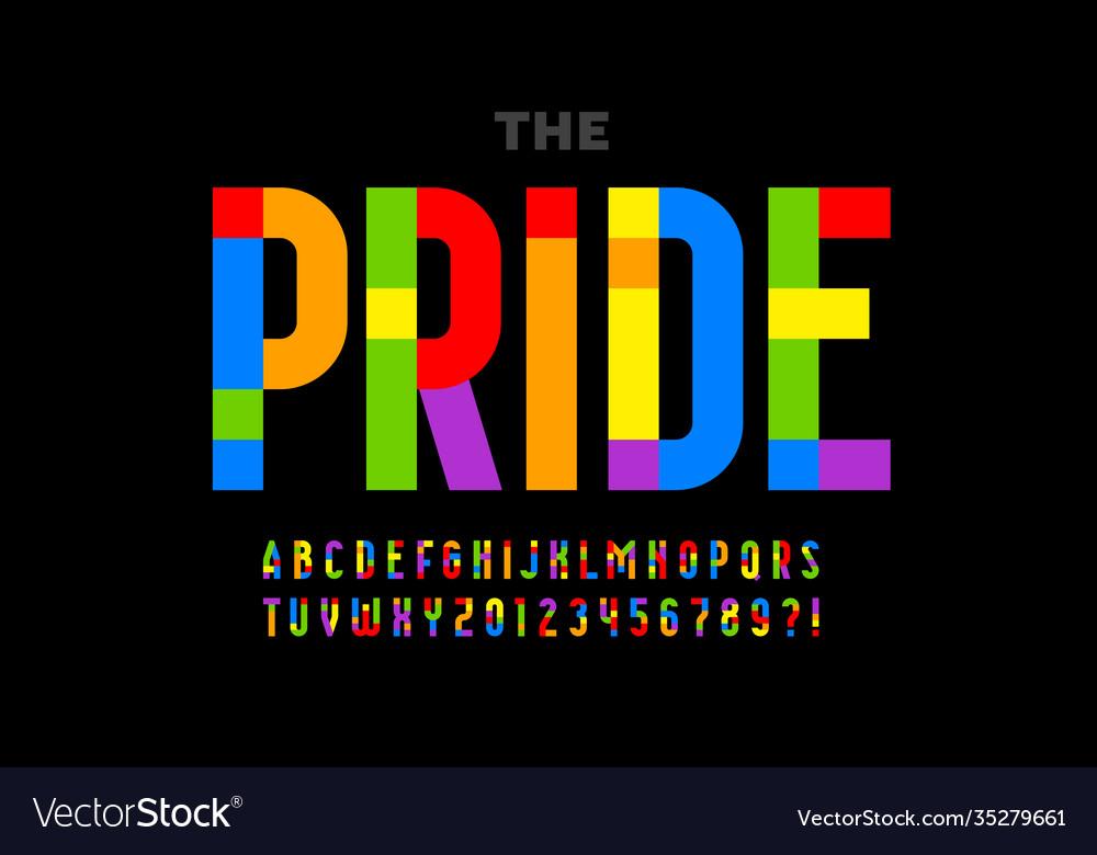 Lgbtq rainbow flag colors pride font alphabet